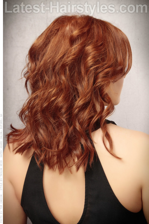 Medium Red Professional Hairstyle with Curls and Middle Part Back View