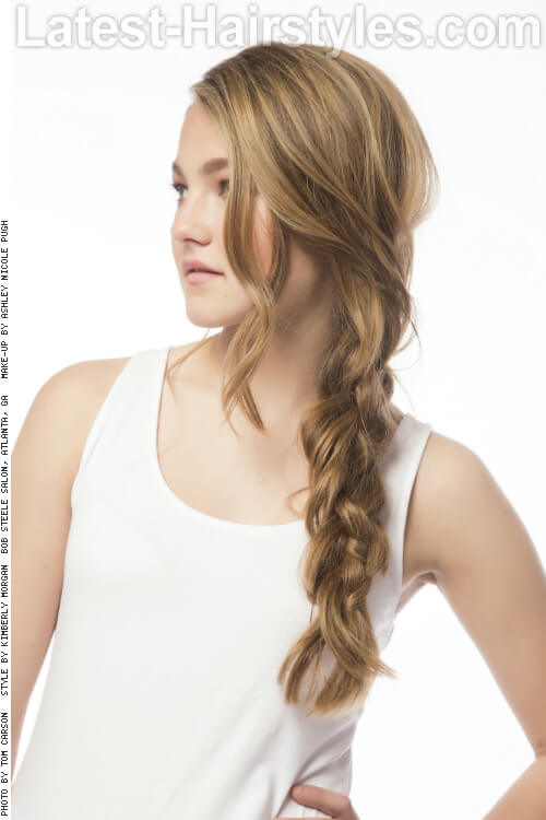 Organic Hairstyle with Loose Side Braid Side