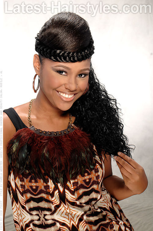 Ponytail with Braid Headband Weave Second View