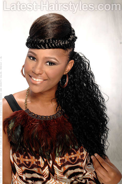 Ponytail with Braid Headband Weave