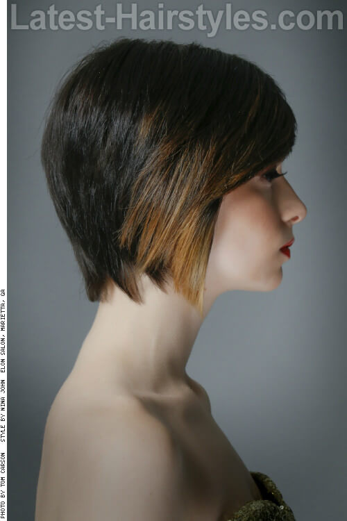 Short Brown Haircolor for Summer with Accent Highlights Side