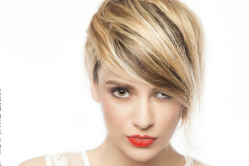 Short Hairstyle with Side Swept Bangs