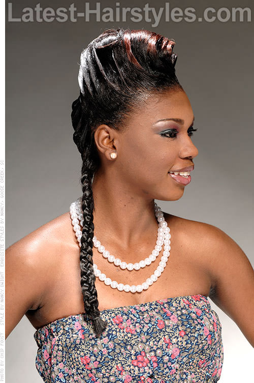 Single Braid Hairstyle with Double French Roll Side View