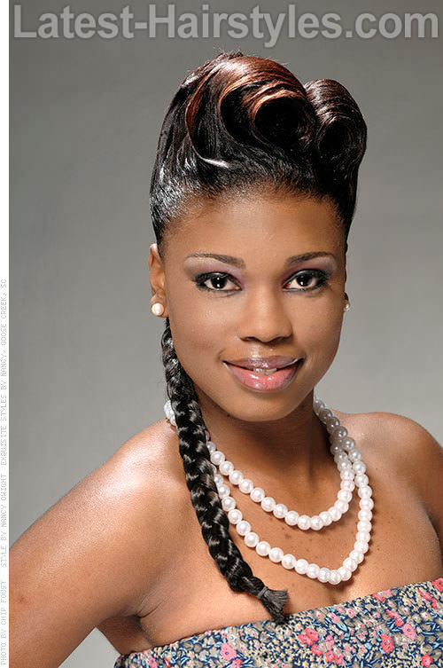 Black French Roll Hairstyles with Braids