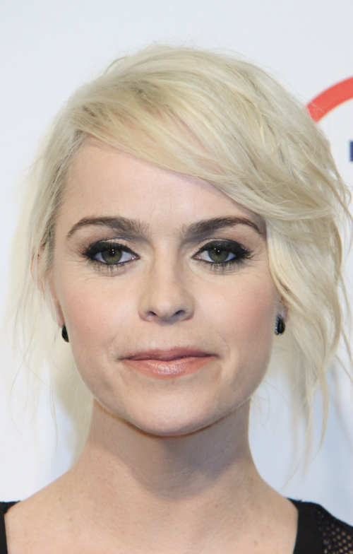 Taryn Manning Updo with Deep Side Part and Waves