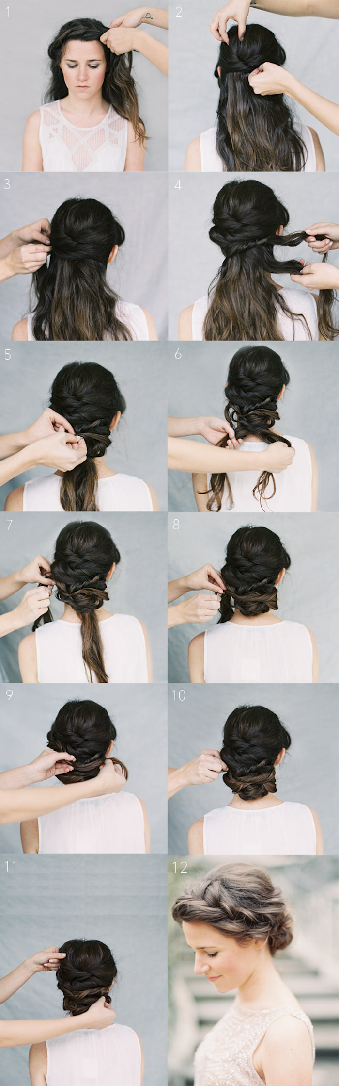 Crown Braid Chignon Summer Wedding Hairstyle Tutorial