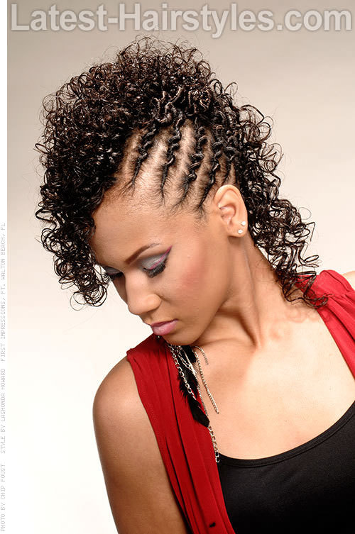 Curly Fauxhawk with Twists Side View
