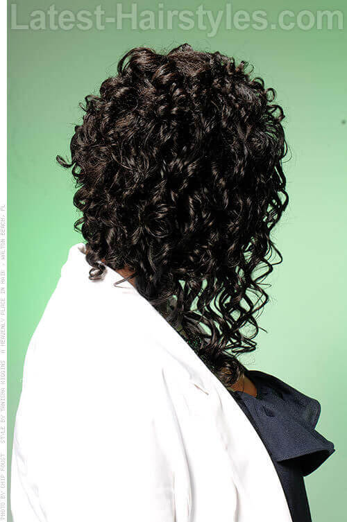 Curly Hairstyle with Deep Side Part Back