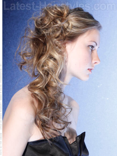Curly Updo with Messy Bun Side