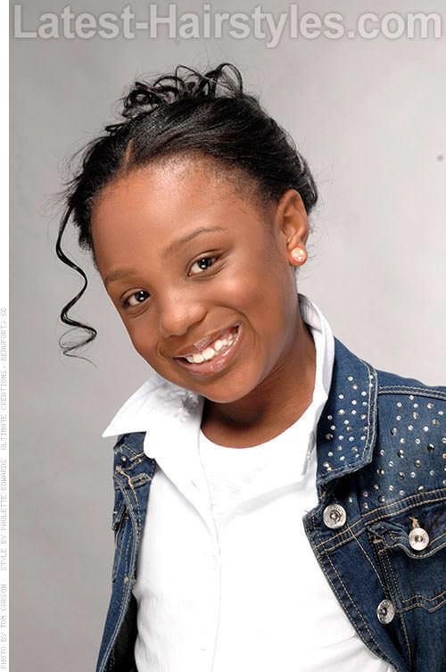 Cute Black Kids Updo with Curls