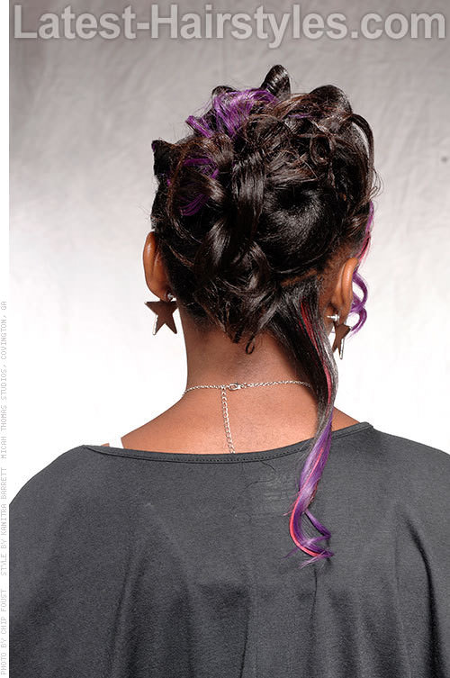 Funky Updo with Purple Highlights Back View