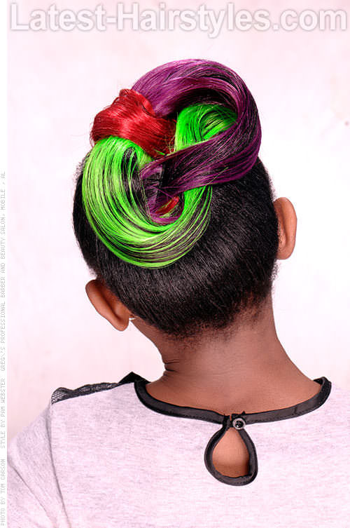 Kids Bowtie Updo with Color Back View