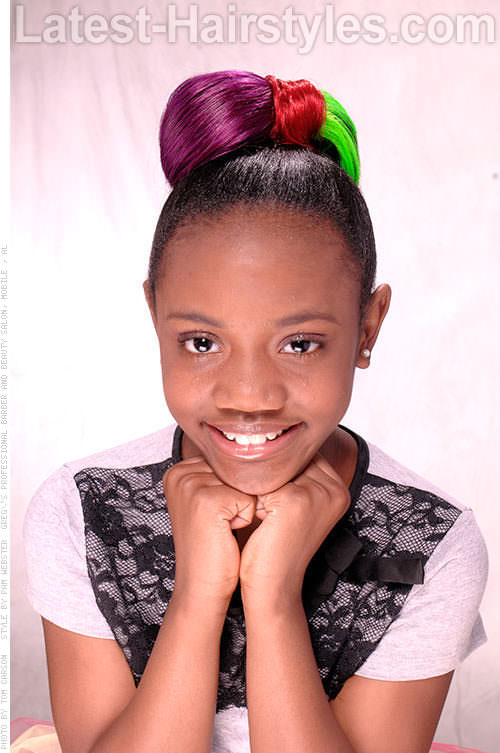 Black Kid Hairstyle Bowtie Updo with Color