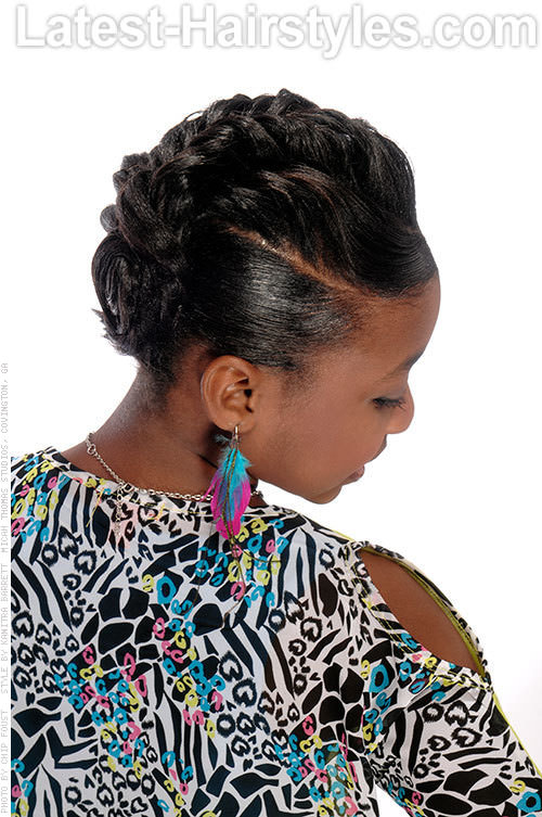 Kids Hairstyle with Inside Braids Back View