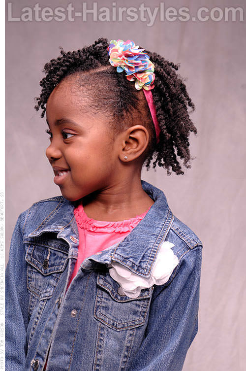 Kids Natural Hairstyle with Twists Side View