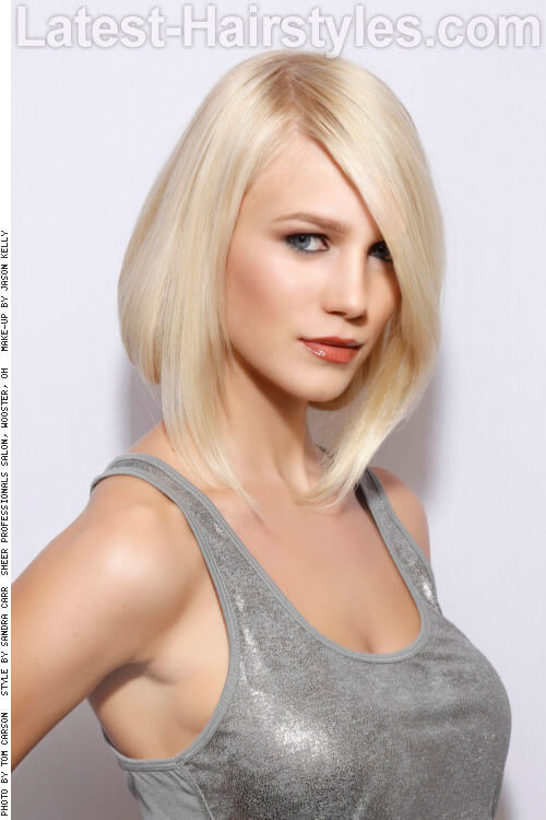 Medium Length Hairstyle with Deep Side Part
