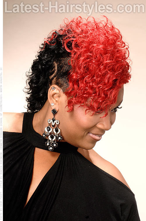 Red Mohawk with Curls