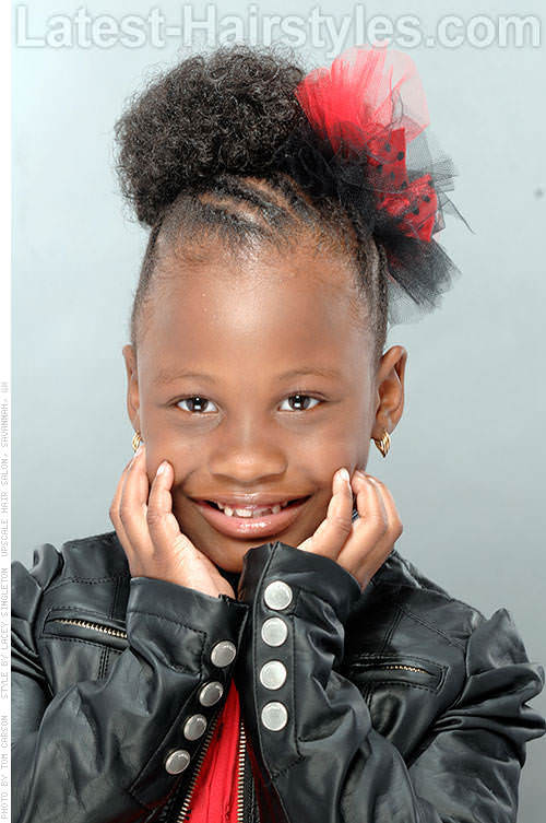 Black Kid's Updo with Twists and Bow