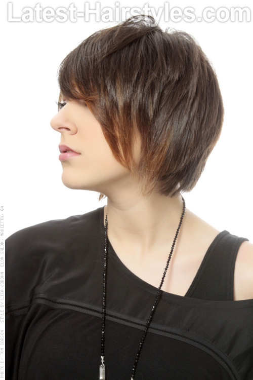 Mid Length Bob with Piecey Layers Side View