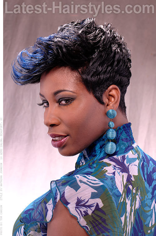 Playful Short Hairstyle with Blue Highlights Side