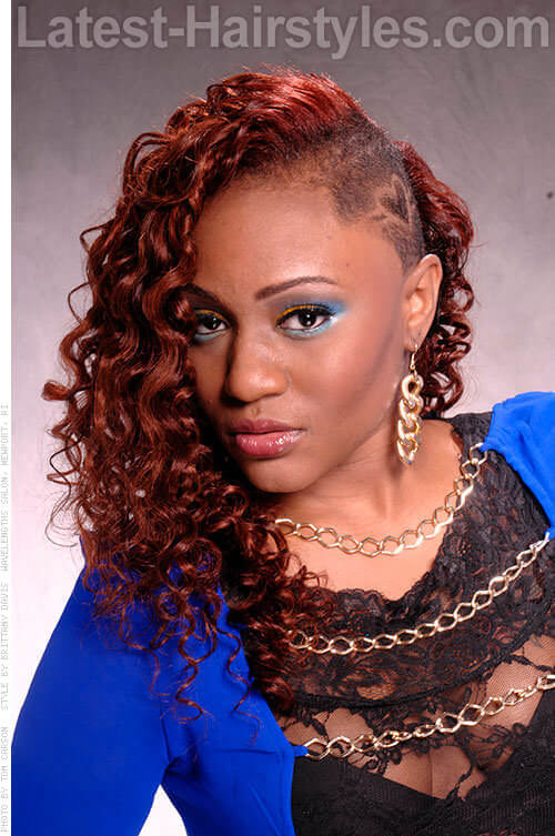 Assymetric and Lovely Shaved Side With Long Red Hair