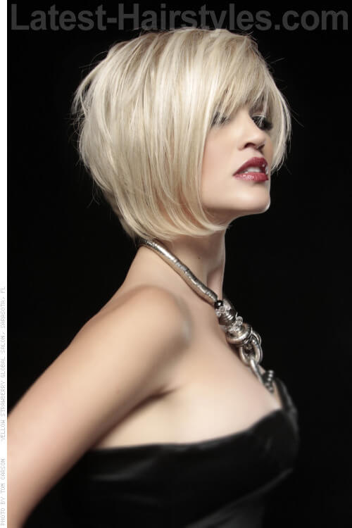 Asymmetrical Blonde Bob Side