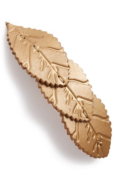 Berry 'Pretty Leaf' Leather Barrette
