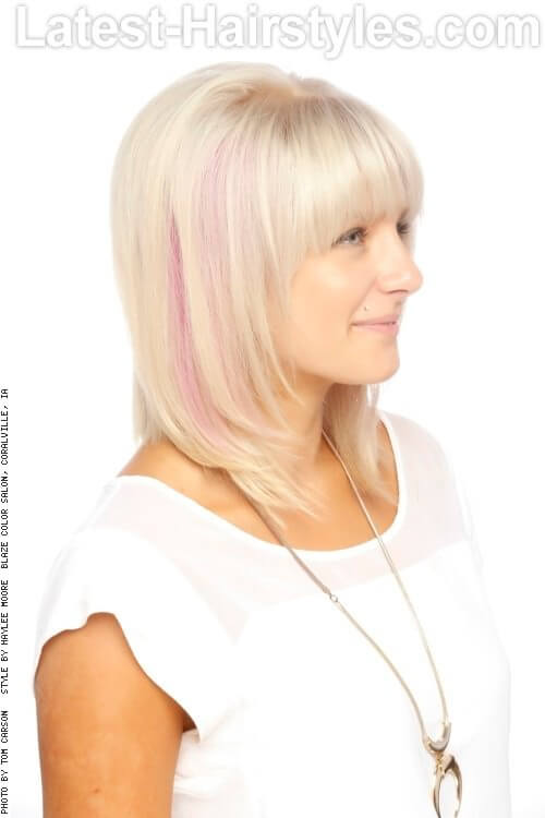 Blonde Women's Haircut with Shattered Fringe Side
