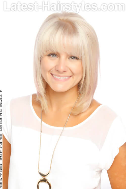 Blonde Women's Haircut with Shattered Fringe
