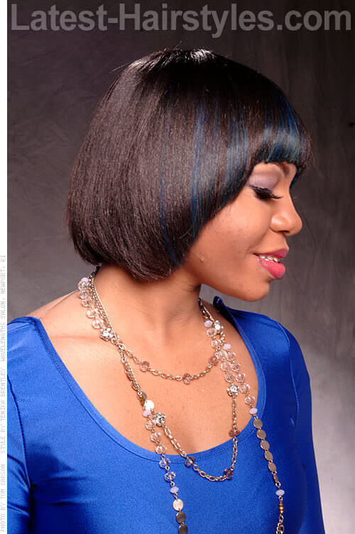 Blue Highlights on Fringed Bob Side