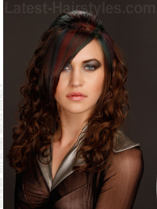 Green and Red Fringe Haircolor