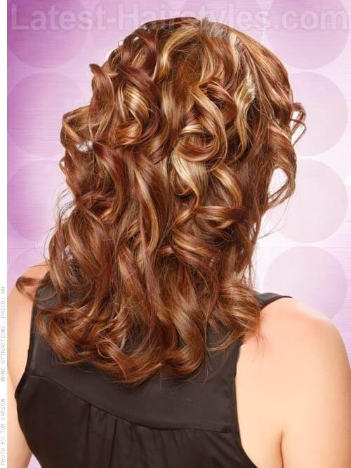 Hairstyle with Curls and Bangs Back