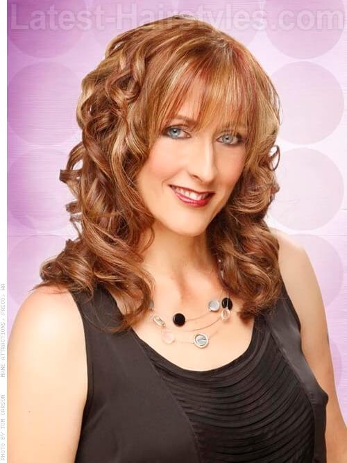 Hairstyle with Curls and Bangs