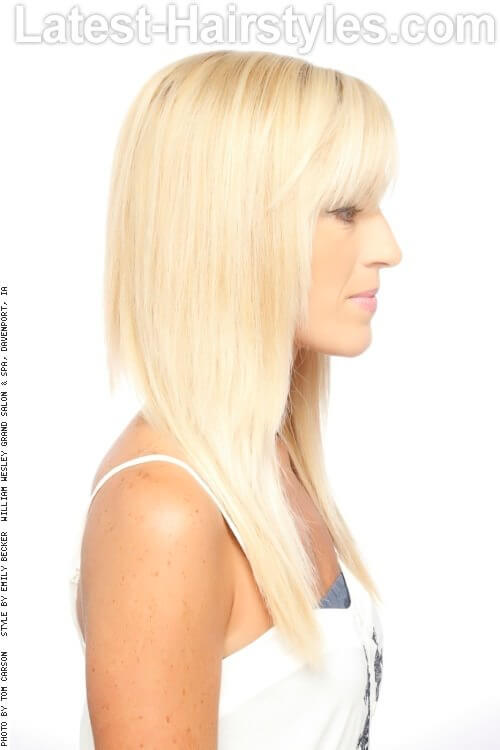 Long Blonde Haircut with Fringe Side
