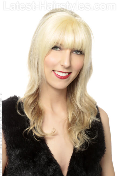 Long Blonde Hairstyle with Layers and Bangs