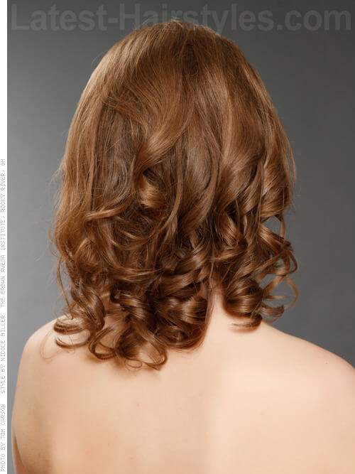 Medium Curly Hairstyle Back