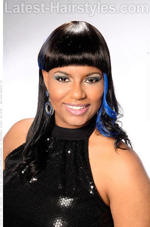 Neon Blue Streaks Haircolor