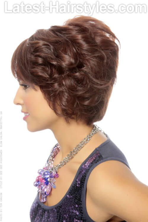 Short Curly Bob with Bangs Side