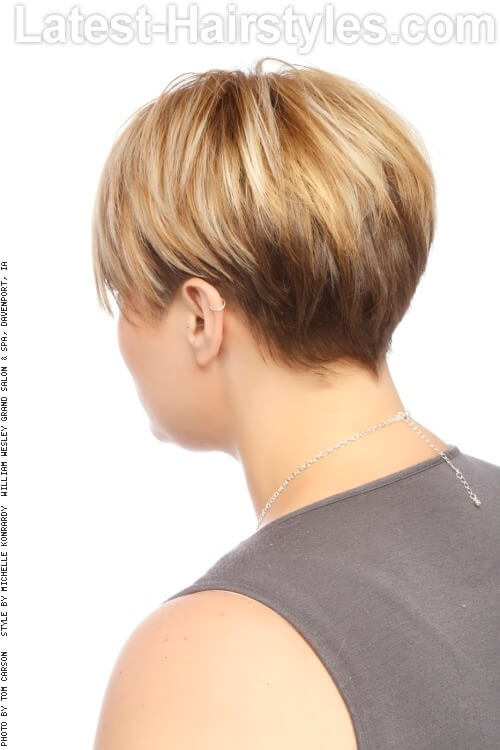 Short Textured Women's Haircut Back