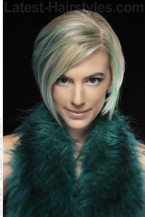 Blonde Bob with Aqua Highlights