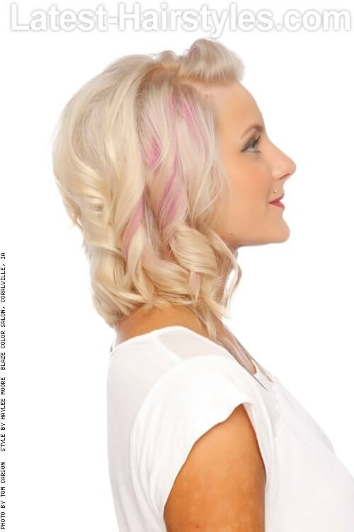 Blonde Hairstyle with Curls Side
