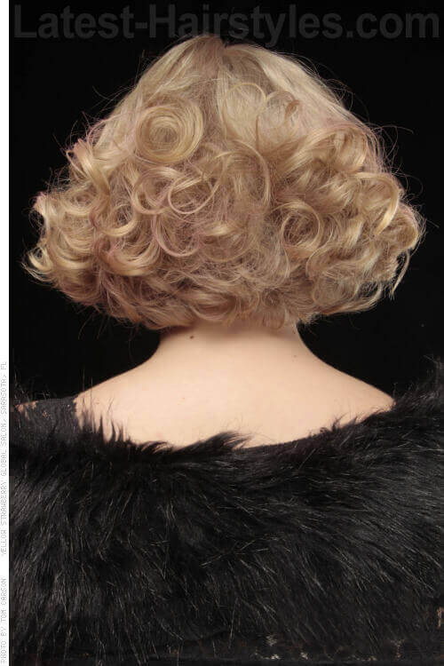 Bobbed Hairstyle with Curls and Fringe Back