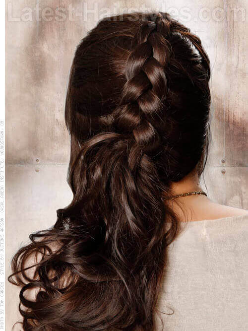 Braided Hairstyle with Bangs Back
