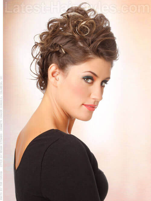Curly Messy Updo with Height Side