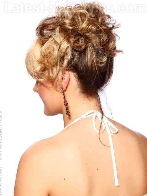 Curly Updo with Fringe Back