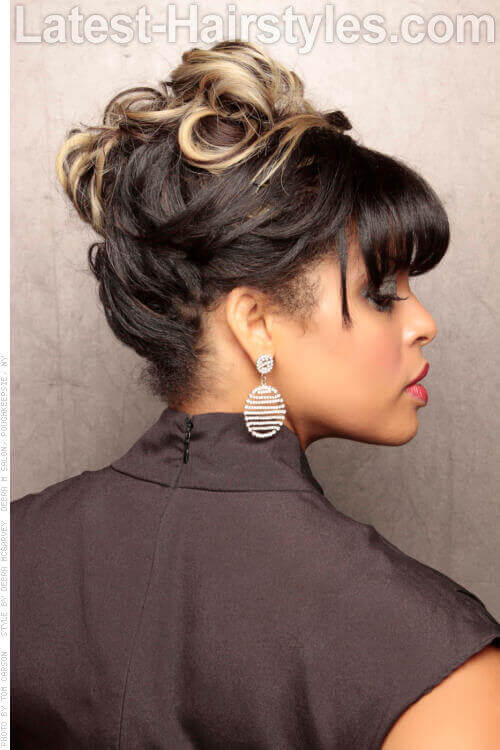Curly Updo with Fringe Side