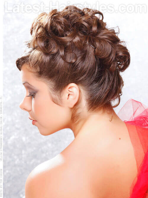short curly hair updo styles 36 curly updos for curly hair see these ideas for 2018 3389 | Formal Curly Updo with Accessory Side