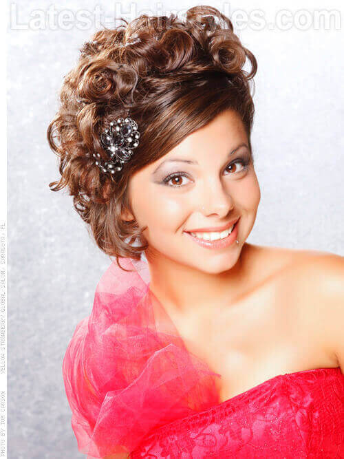 Formal Curly Updo with Accessory