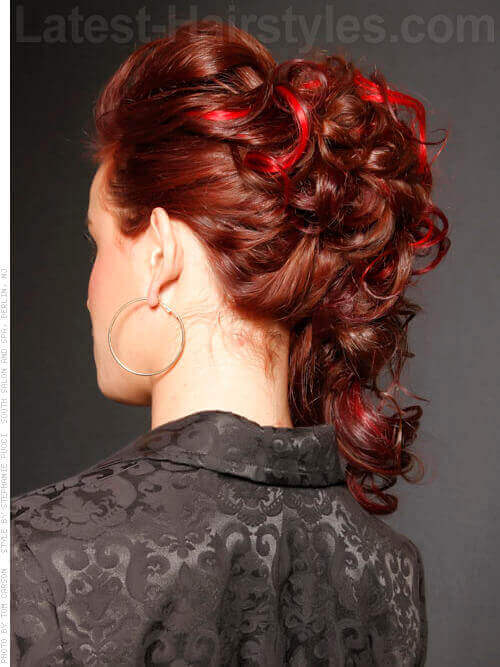 Glamorous Curly Updo with Red Highlights Back