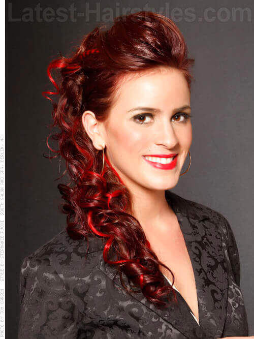 Glamorous Curly Updo with Red Highlights